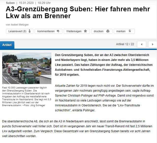 Den Grenzübergang Suben, der an der A3 zwischen Oberösterreich und Niederbayern liegt, haben in einem Jahr mehr als 3,5 Millionen Lkw passiert. Das haben Zählungen der Asfinag, der österreichischen Autobahnen- und Schnellstraßen-Finanzierungs-Aktiengesellschaft, für 2018 ergeben.