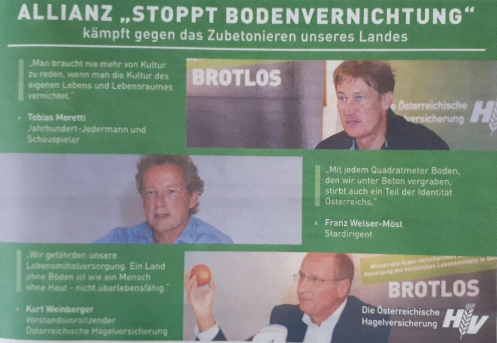Allianz Stoppt Bodenvernichtung mit Tobias Moretti, Franz Welser-Möst und Kurt Weinberger