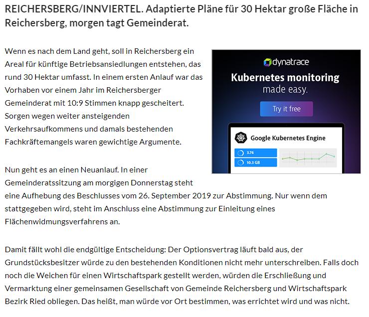 REICHERSBERG/INNVIERTEL. Adaptierte Pläne für 30 Hektar große Fläche in Reichersberg, morgen tagt Gemeinderat.