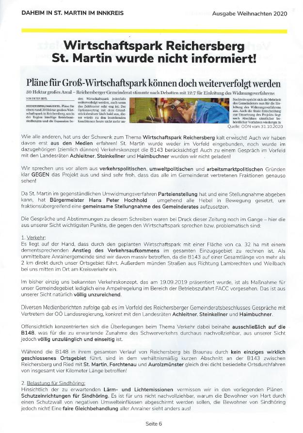 Wirtschaftspark Reichersberg St. Martin im Innkreis wurde nicht informiert
