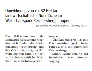 Umwidmung von ca. 32 Hektar landwirtschaftliche Nutzfläche im Wirtschaftspark Reichersberg stoppen.  Einstimmig beschlossen am 16. Dezember 2020