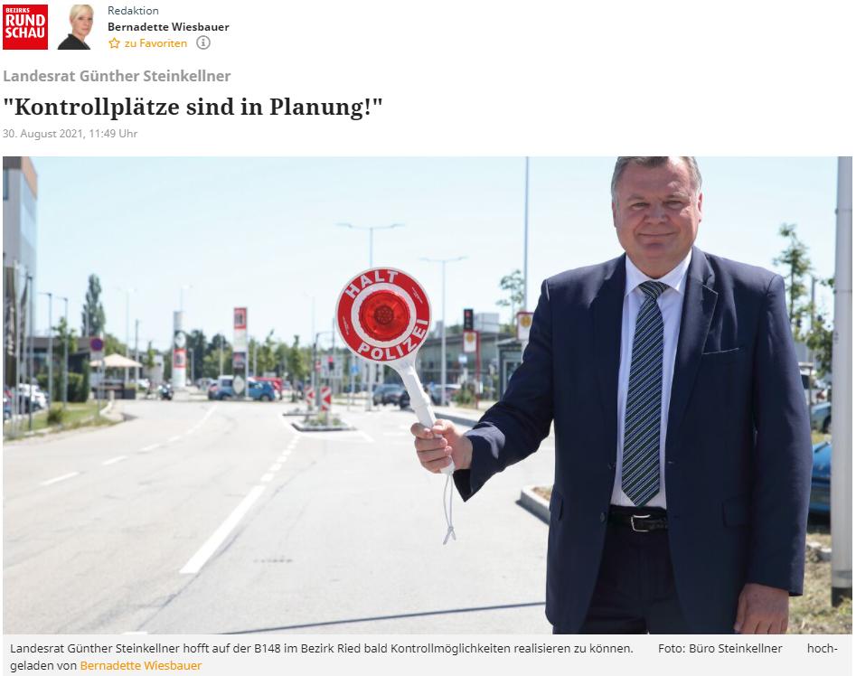 Kontrollplätze sind in Planung sag Landesrat Günther Steinkellner