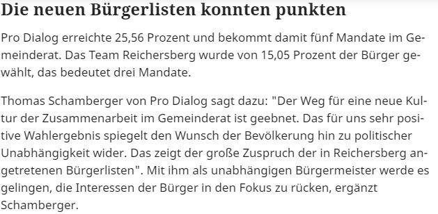 Die neuen Bürgerlisten konnten in Reichersberg punkten.